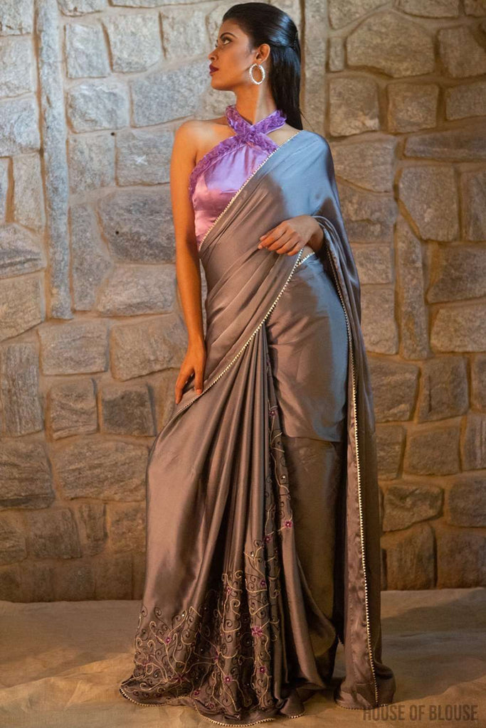 Silver Grey pure silk satin saree with sequin, bead and thread embroidery and silver gota edging - House of Blouse