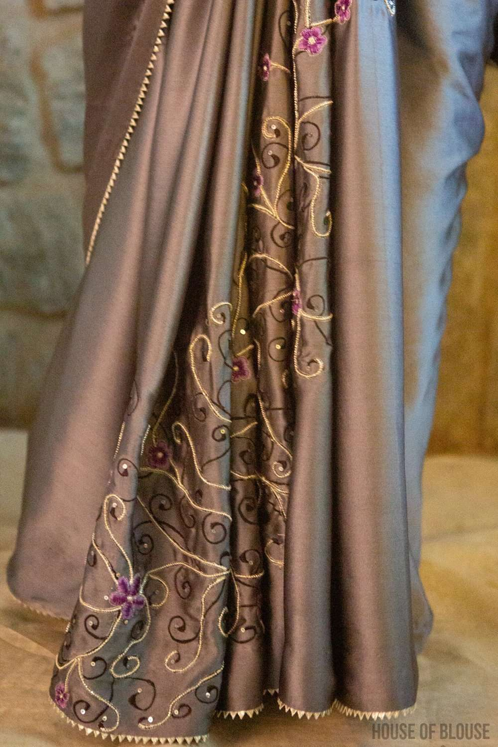 Silver Grey pure silk satin saree with sequin, bead and thread embroidery and silver gota edging