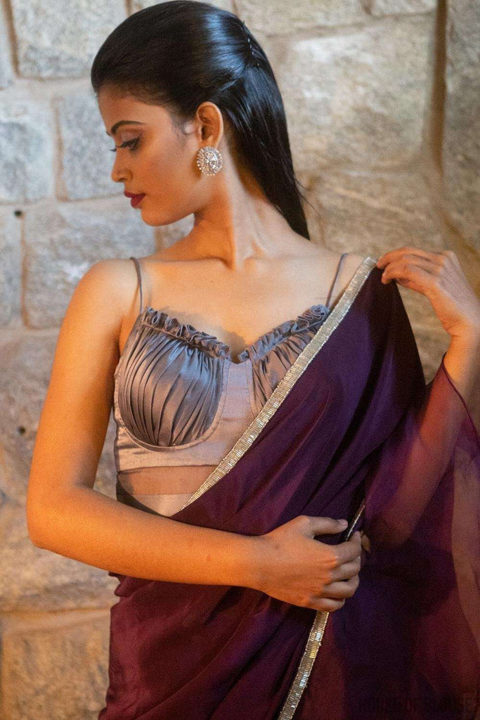 Silver-grey pure silk satin spaghetti-strap gathered bustier blouse - House of Blouse