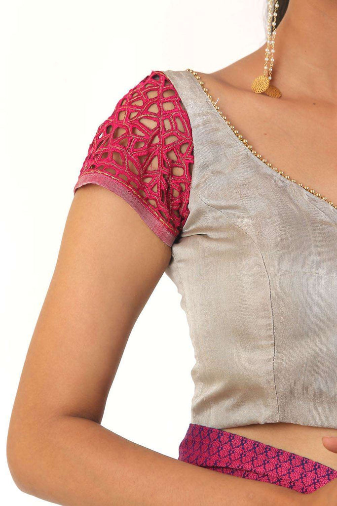 Silver tissue blouse with pink cutwork sleeves - House of Blouse