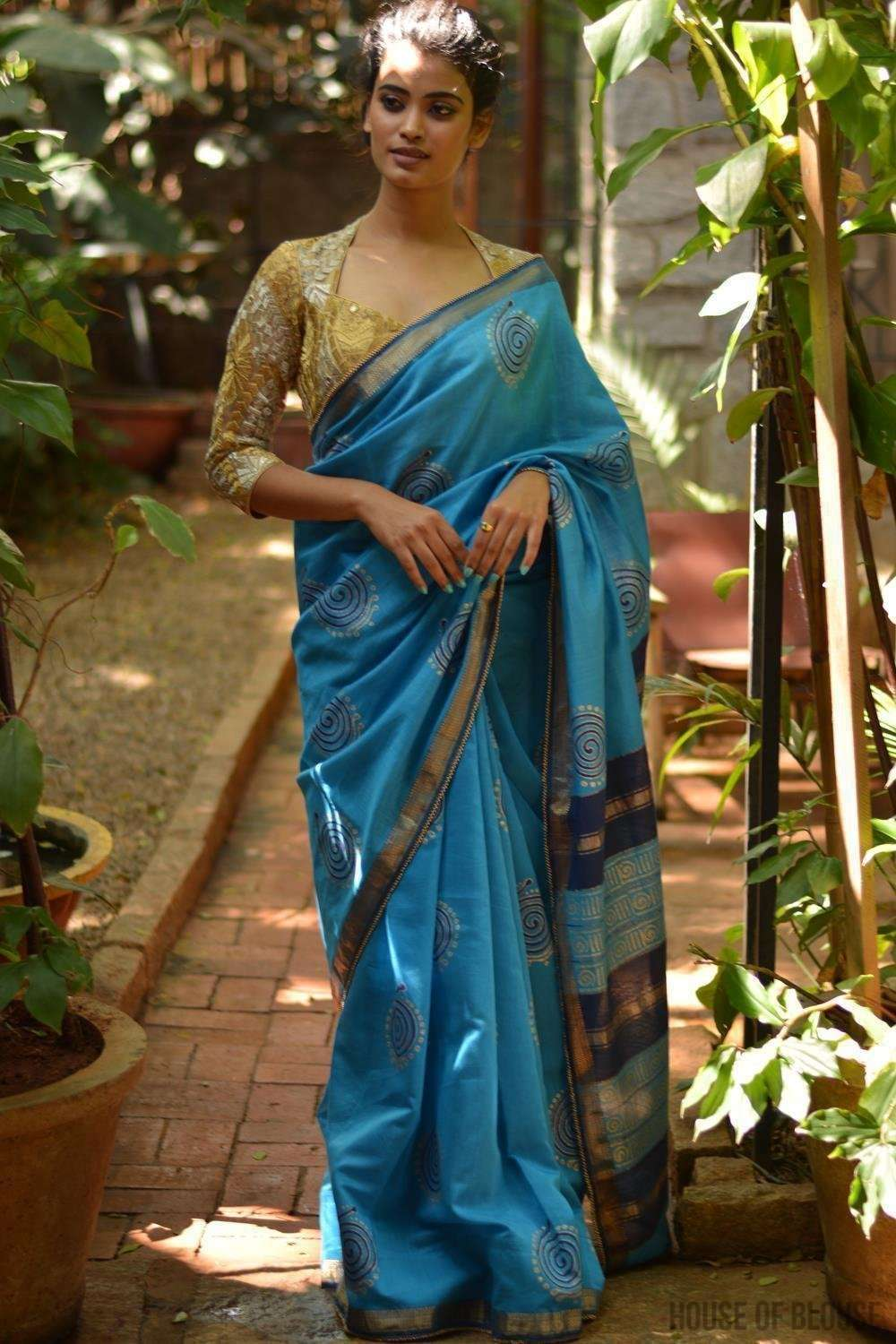 Sky blue Maheshwari handloom silkcot saree with blue and gold block print - House of Blouse