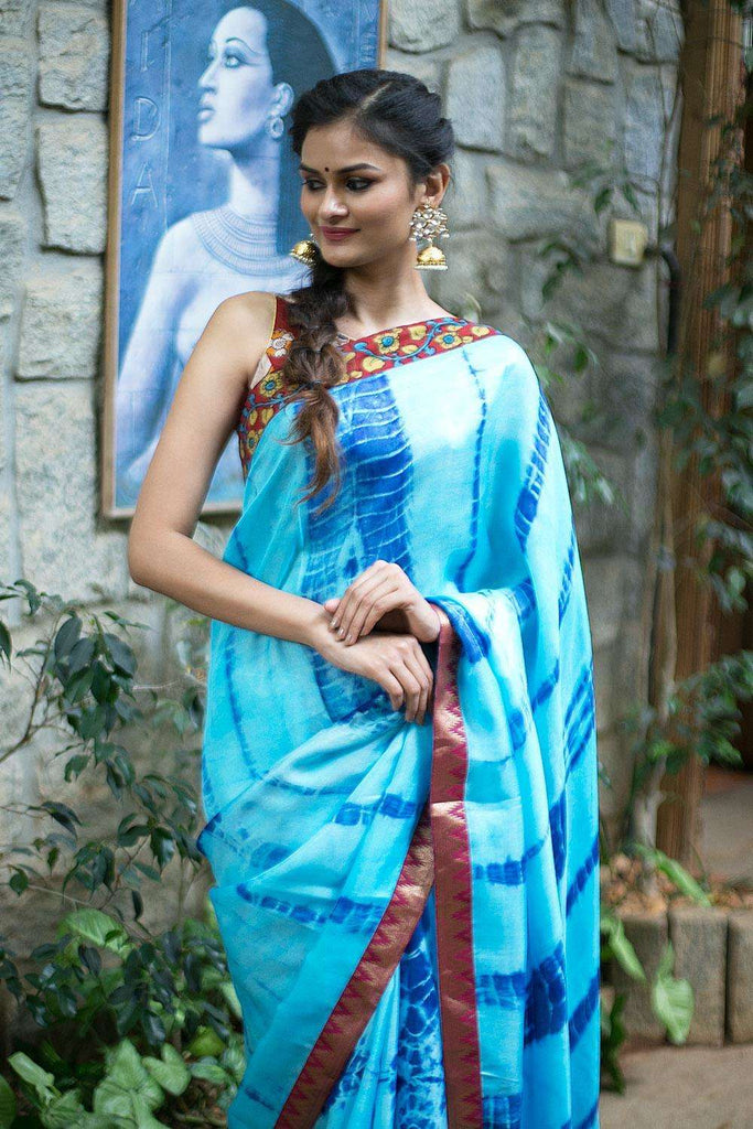 Sky blue shibori shaded jute georgette saree with kalamkari and brocade border - House of Blouse