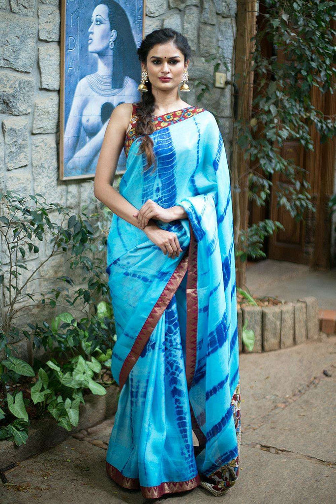 Sky blue shibori shaded jute georgette saree with kalamkari and brocade border