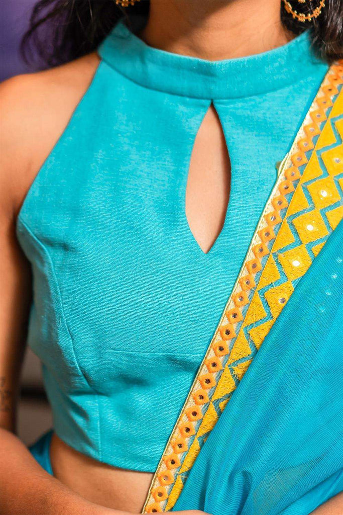 Turquoise jute cotton hi neck sleeveless blouse - House of Blouse