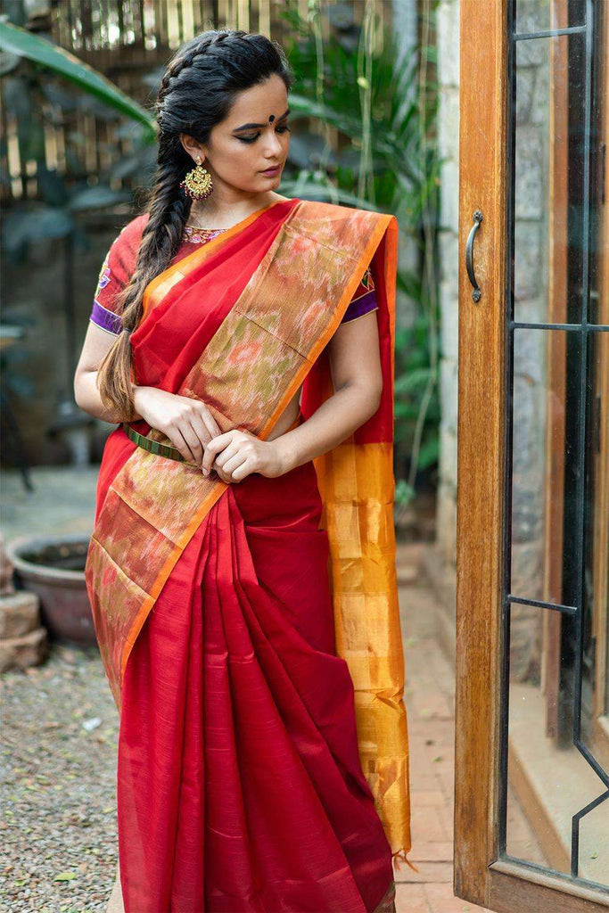 Velu Nachiyar - Red silk cotton saree with ikat border and mustard edging