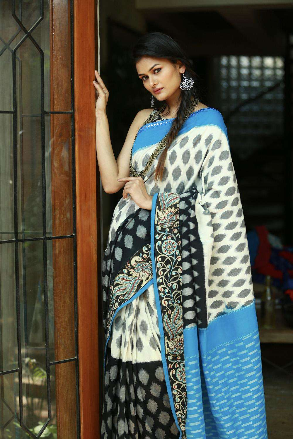 White, black and grey Ikat handloom cotton saree with Kalamkari border