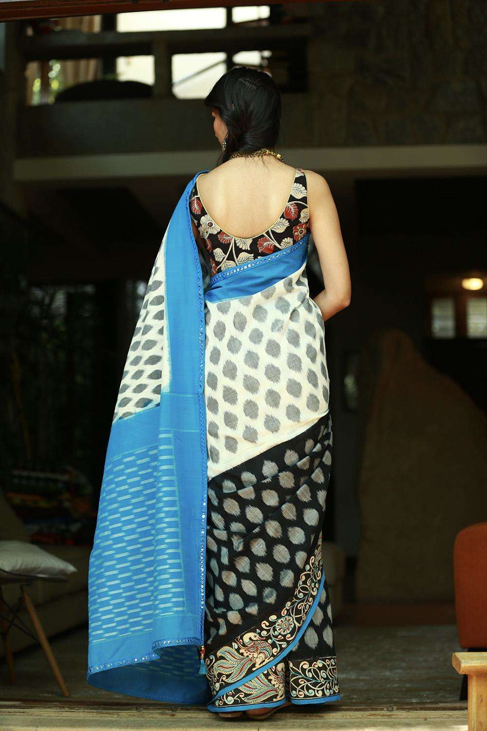 White, black and grey Ikat handloom cotton saree with Kalamkari border - House of Blouse