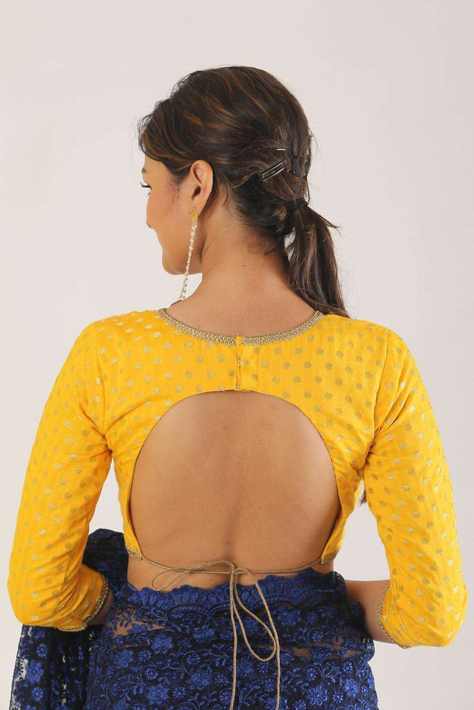 Yellow and gold chanderi brocade blouse with back tie - House of Blouse