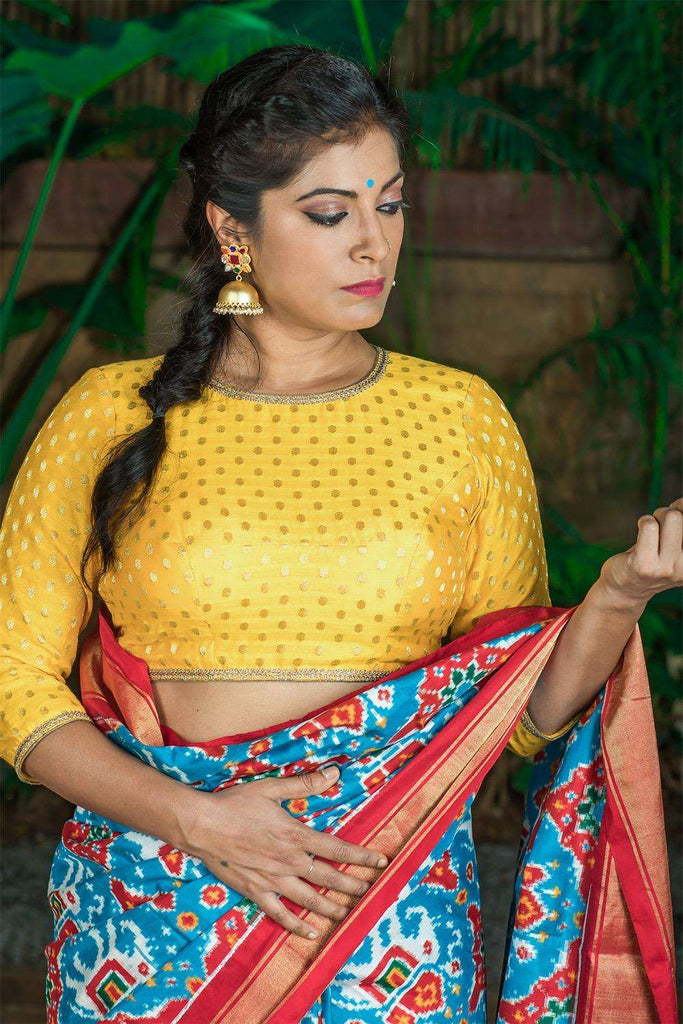 Yellow and gold chanderi brocade blouse - House of Blouse