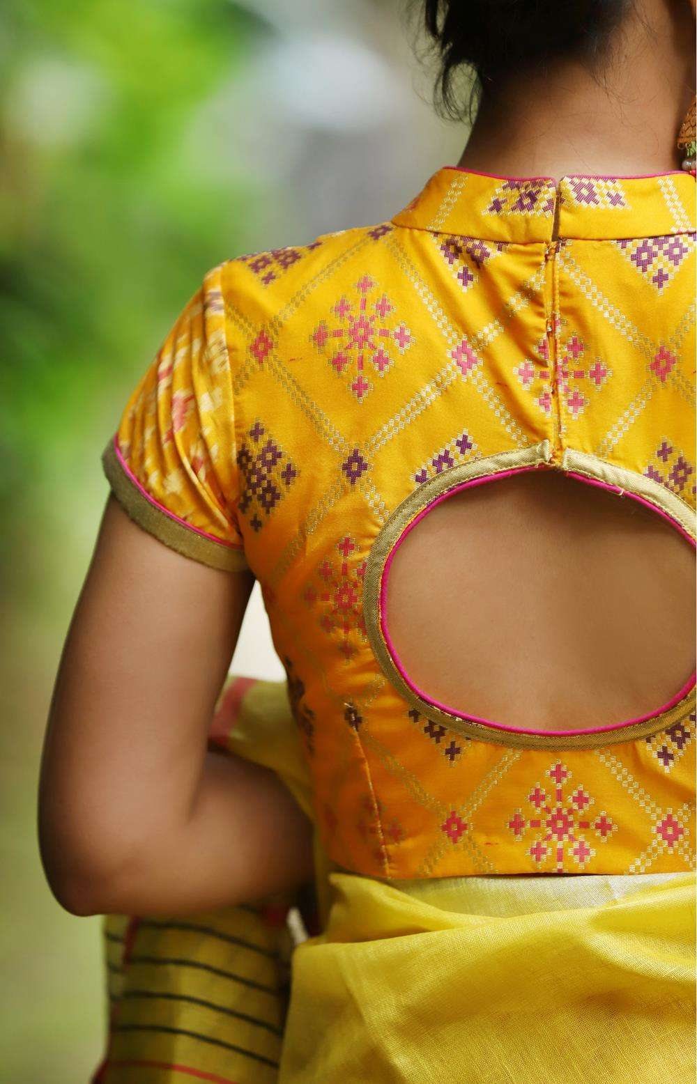 Yellow multicolour brocade hi neck blouse with Ikat sleeves - House of Blouse