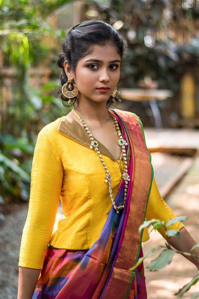 Yellow raw silk jacket blouse with gold brocade collar - House of Blouse