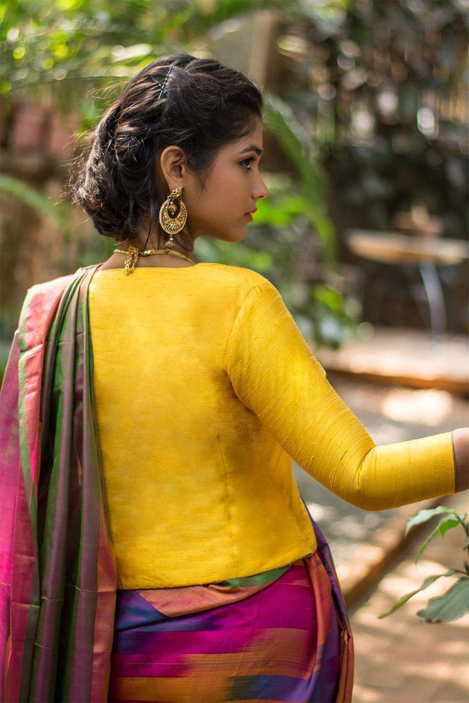 Yellow raw silk jacket blouse with gold brocade collar