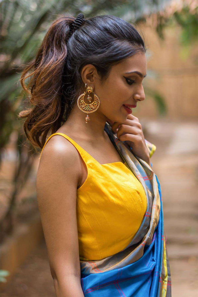 Yellow raw silk sleeveless blouse with applique on back