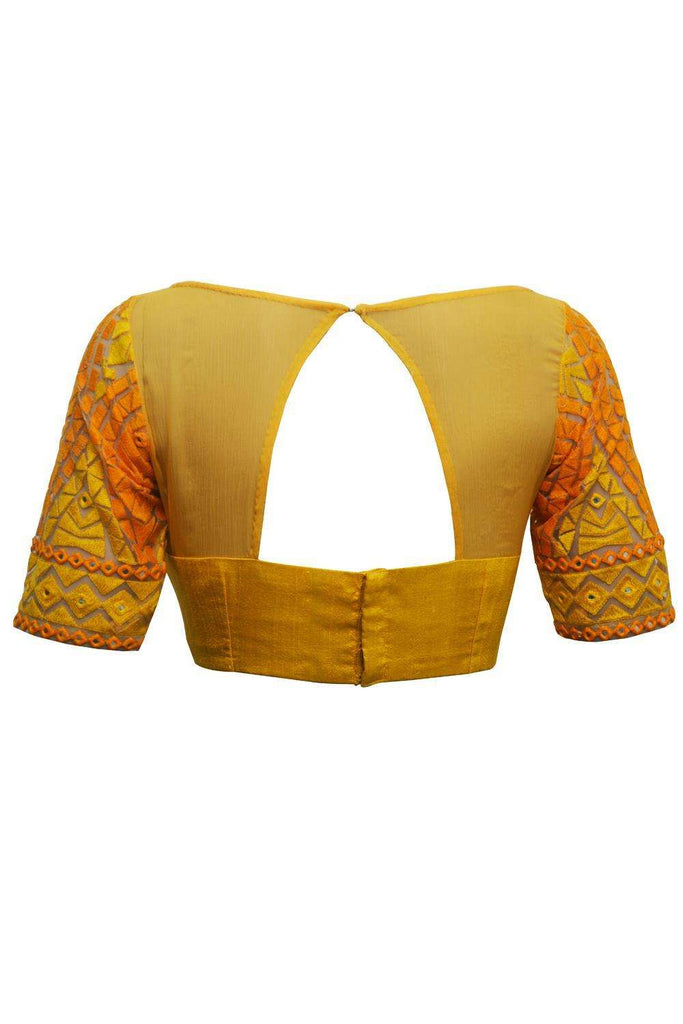 Yellow sheer and threadwork boatneck - House of Blouse