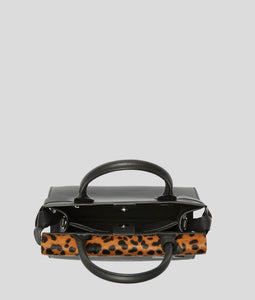 K/IKON SMALL LEOPARD TOP HANDLE BAG