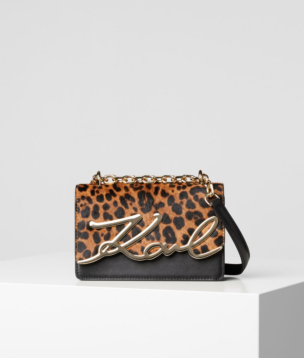 K/SIGNATURE LEOPARD SMALL SHOULDER BAG