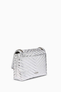 EDIE METALLIC FLAP SHOULDER BAG