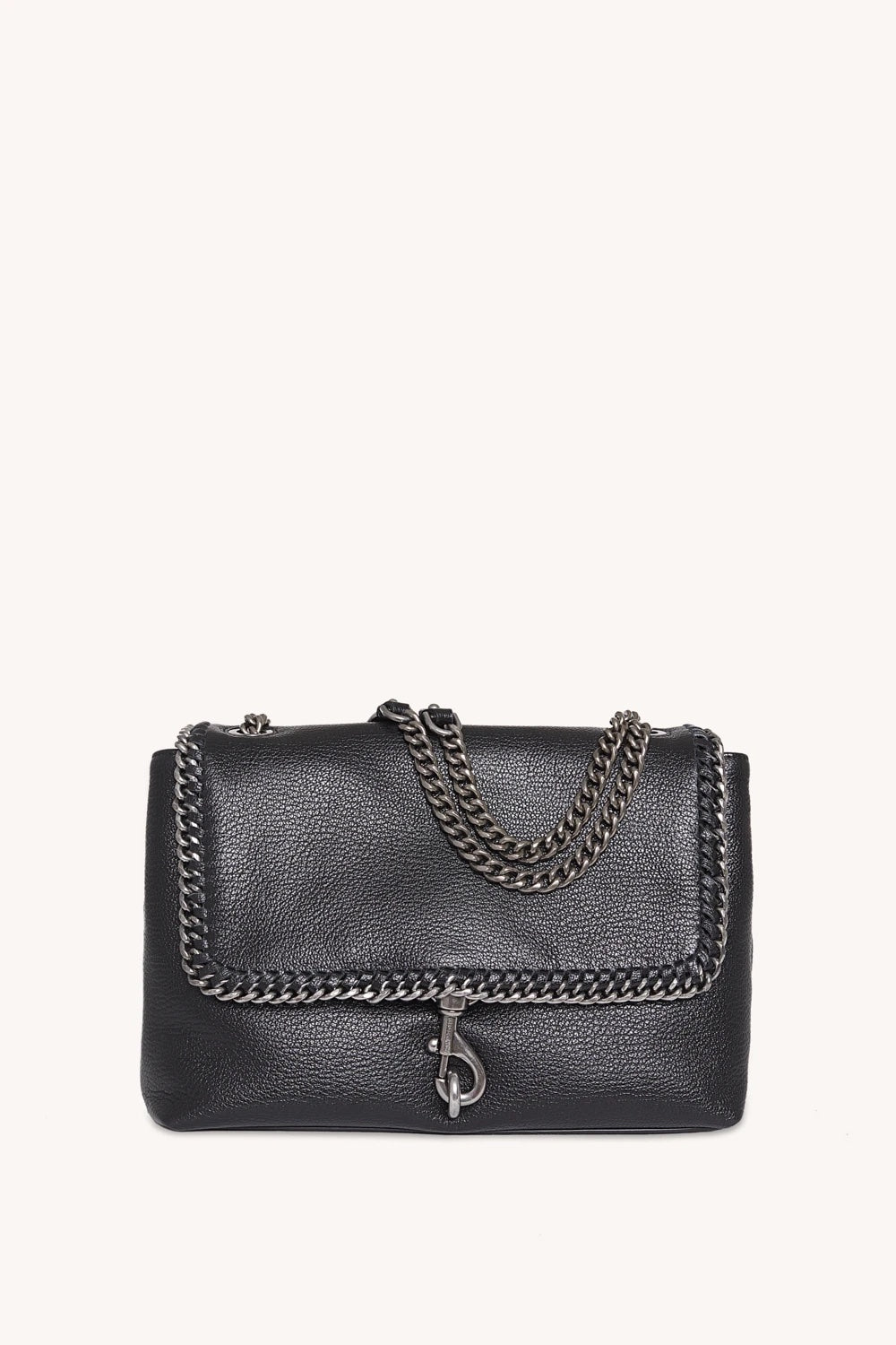 EDIE FLAP SHOULDER BAG WITH WOVEN CHAIN