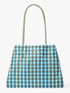 EVERYTHING PUFFY PLAID LARGE TOTE