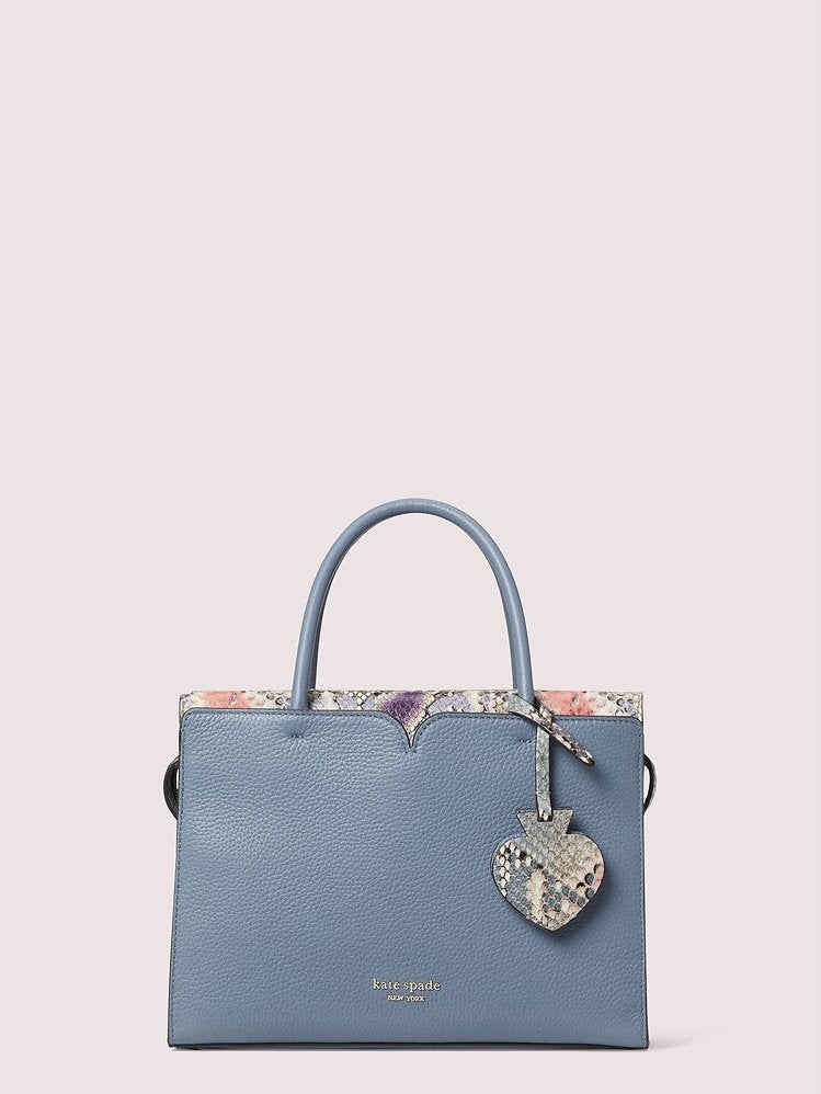 SPENCER SNAKE EMBOSSED MEDIUM SATCHEL