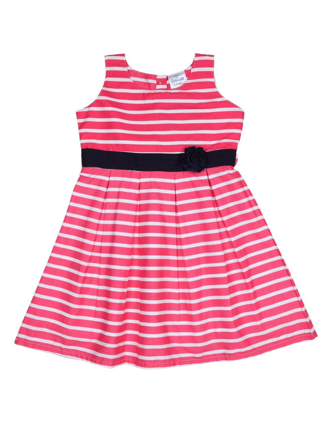 Pink Cotton Striped Printed Dress