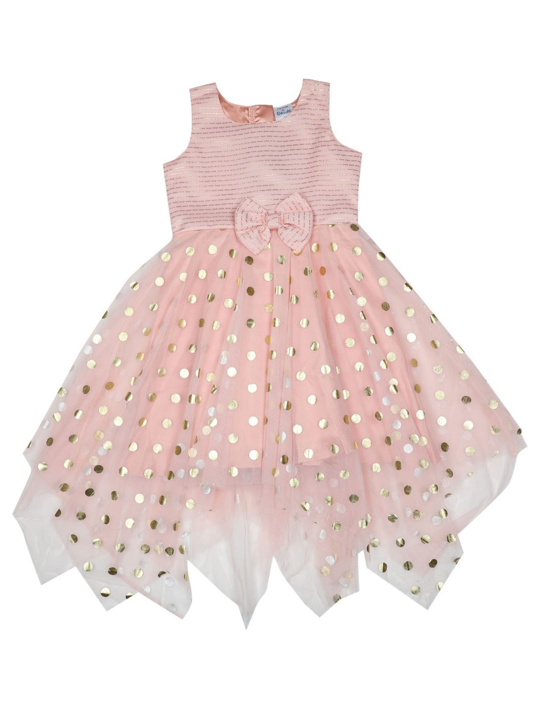Baby Pink Polka Printed Foil Kerchief Dress