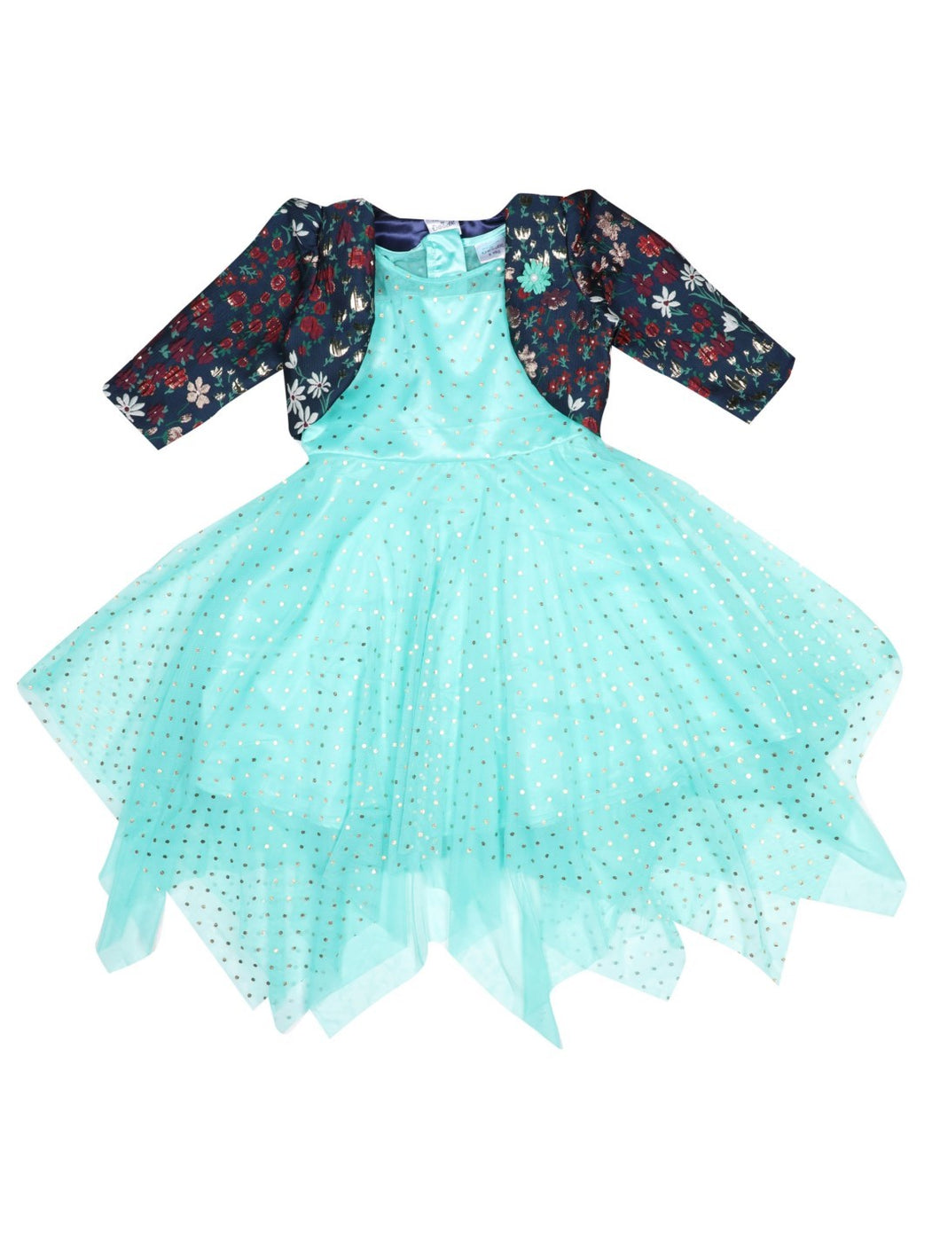 Foil Printed kerchief Dress with Stylish Shrug