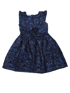 Navy Jacquard Floral Printed Partywear Dress