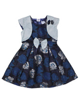 Load image into Gallery viewer, Navy jacquard Dress with Stylish Shrug
