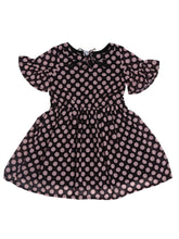 Load image into Gallery viewer, Black Polka Printed Bell Sleeve Dress With Neck Tie Up
