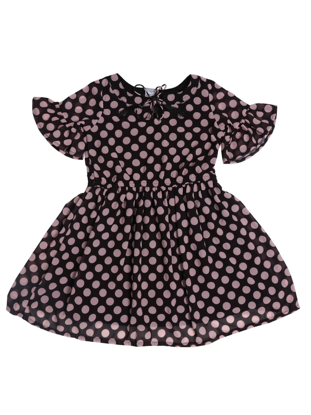 Black Polka Printed Bell Sleeve Dress With Neck Tie Up