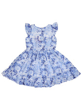 Load image into Gallery viewer, Blue Floral Printed Ruffle Dress
