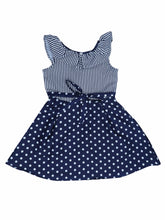 Load image into Gallery viewer, Navy Striper Top & Polka Bottom Ruffle Dress