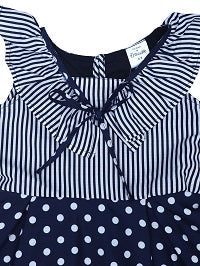 Navy Striper Top & Polka Bottom Ruffle Dress