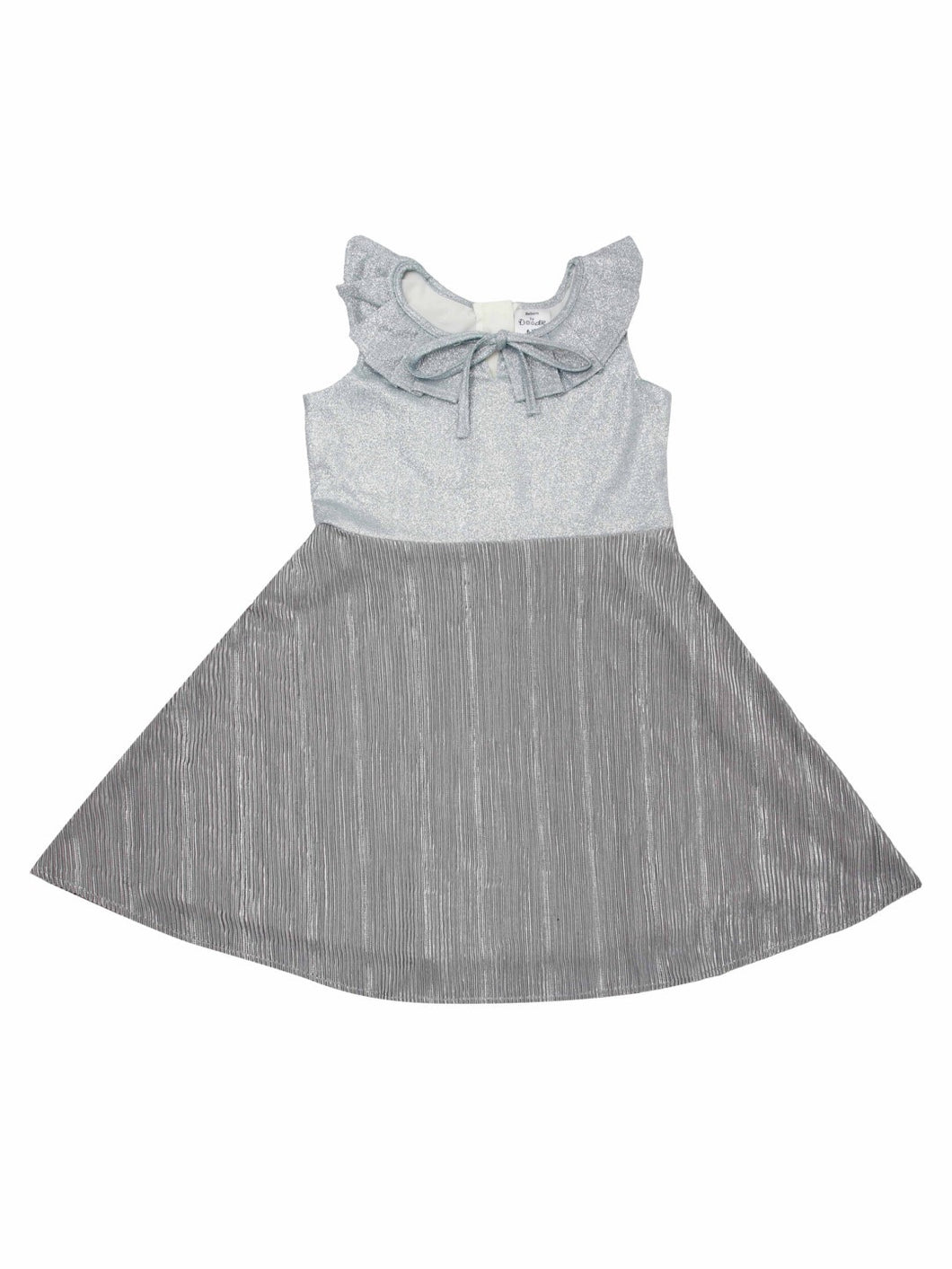 Grey Shimmer Sleeveless Ruffle Dress With Tie Up