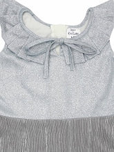 Load image into Gallery viewer, Grey Shimmer Sleeveless Ruffle Dress With Tie Up