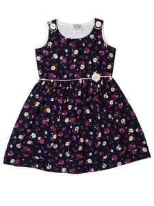 Cotton Navy Floral Print Dress