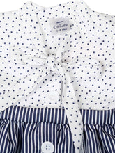 Load image into Gallery viewer, Navy Polka and Stripe Printed Dress