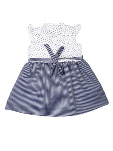 Navy Polka and Stripe Printed Dress