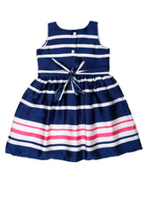 Load image into Gallery viewer, Navy Satin Striped Printed Dress