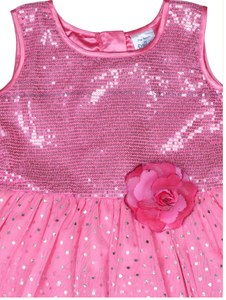 Pink Foil Step Dress With Sequence