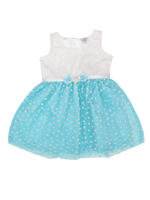 Flock Dress White Lace And Blue Flock Dress