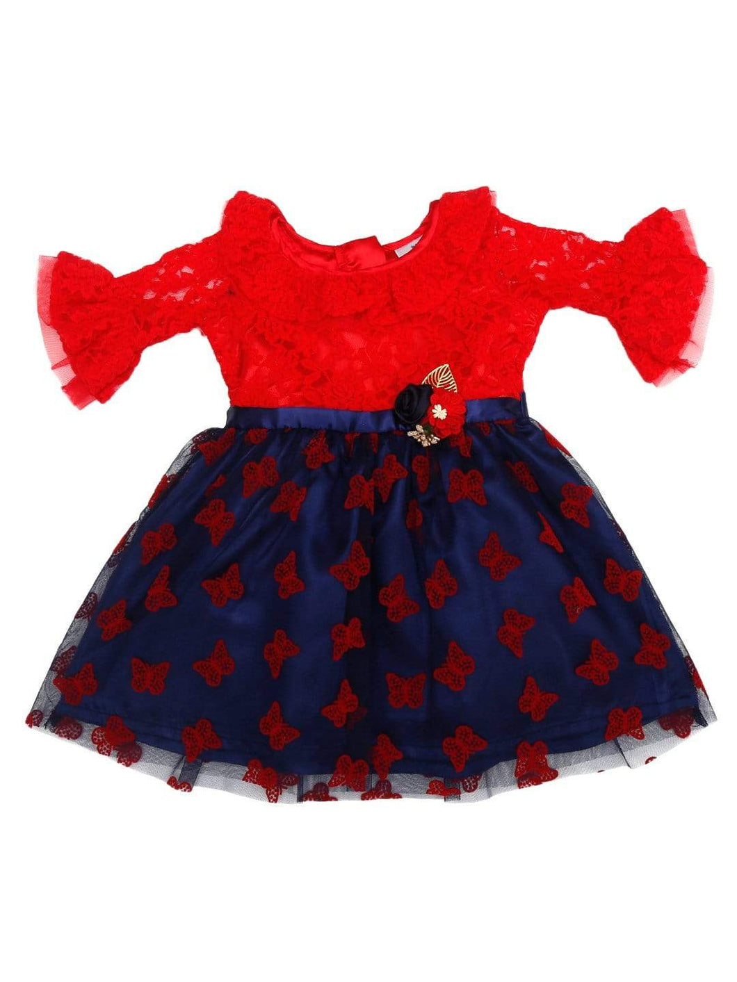 Flock Party Dress Red Lace and Navy Flock Dress