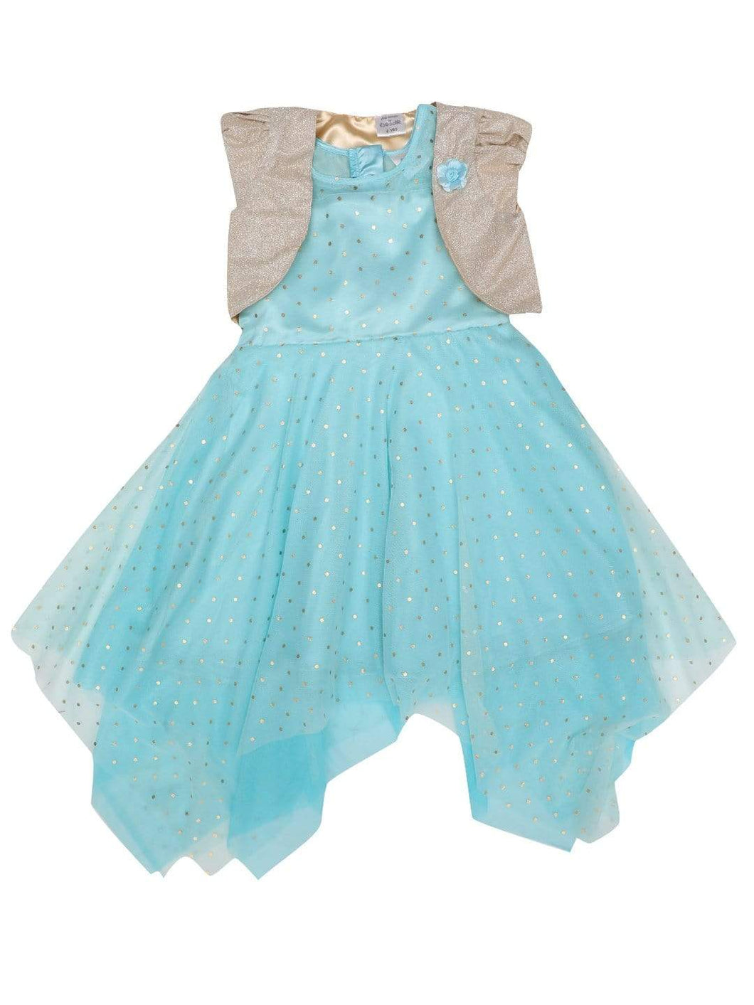 Blue Kerchief Foil Dress