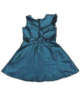 Load image into Gallery viewer, Blue Floral Jacquard Ruffle Dress