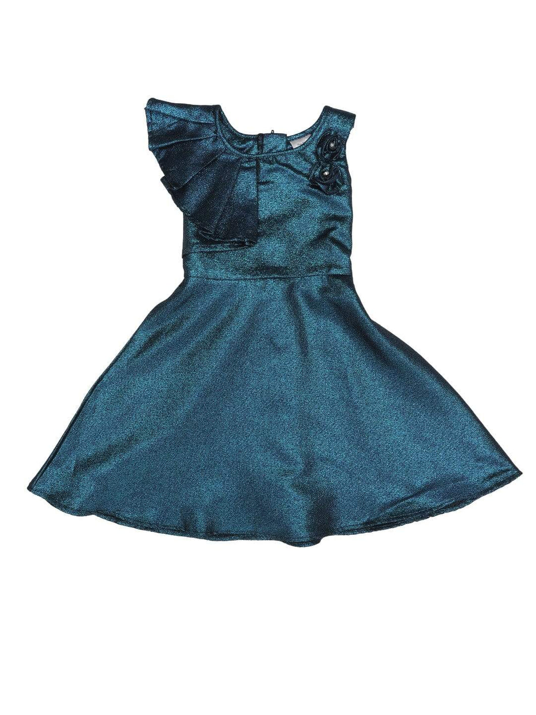 Blue Floral Jacquard Ruffle Dress