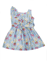 Load image into Gallery viewer, Blue Floral Printed Satin Ruffle Dress
