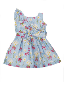 Blue Floral Printed Satin Ruffle Dress