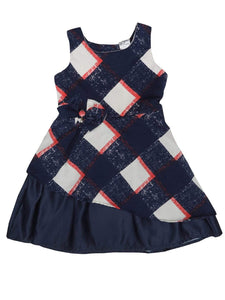 Navy and Red Checks Printed Dress
