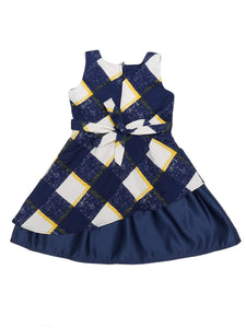 Navy and Yellow Checks Printed Dress